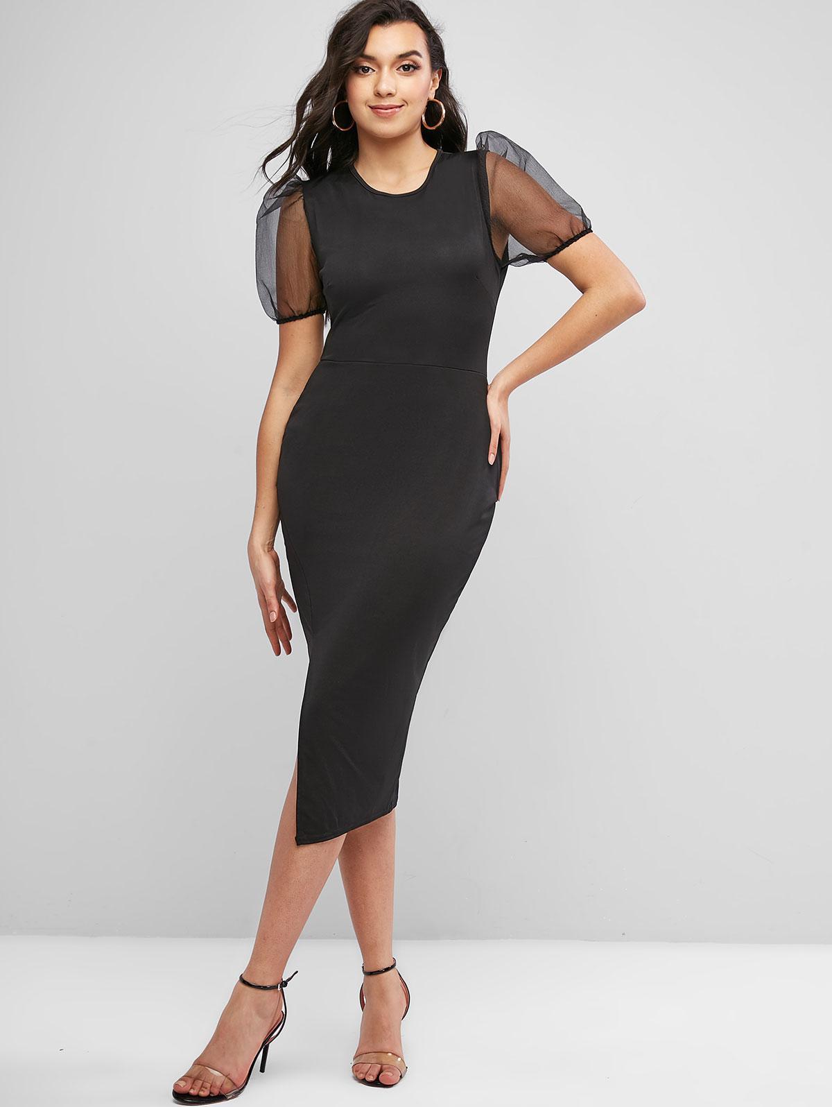 Sheer Puff Sleeve Bodycon Slit Dress