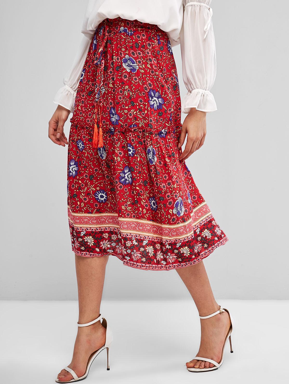Tie Waist Floral Tassels Midi Skirt