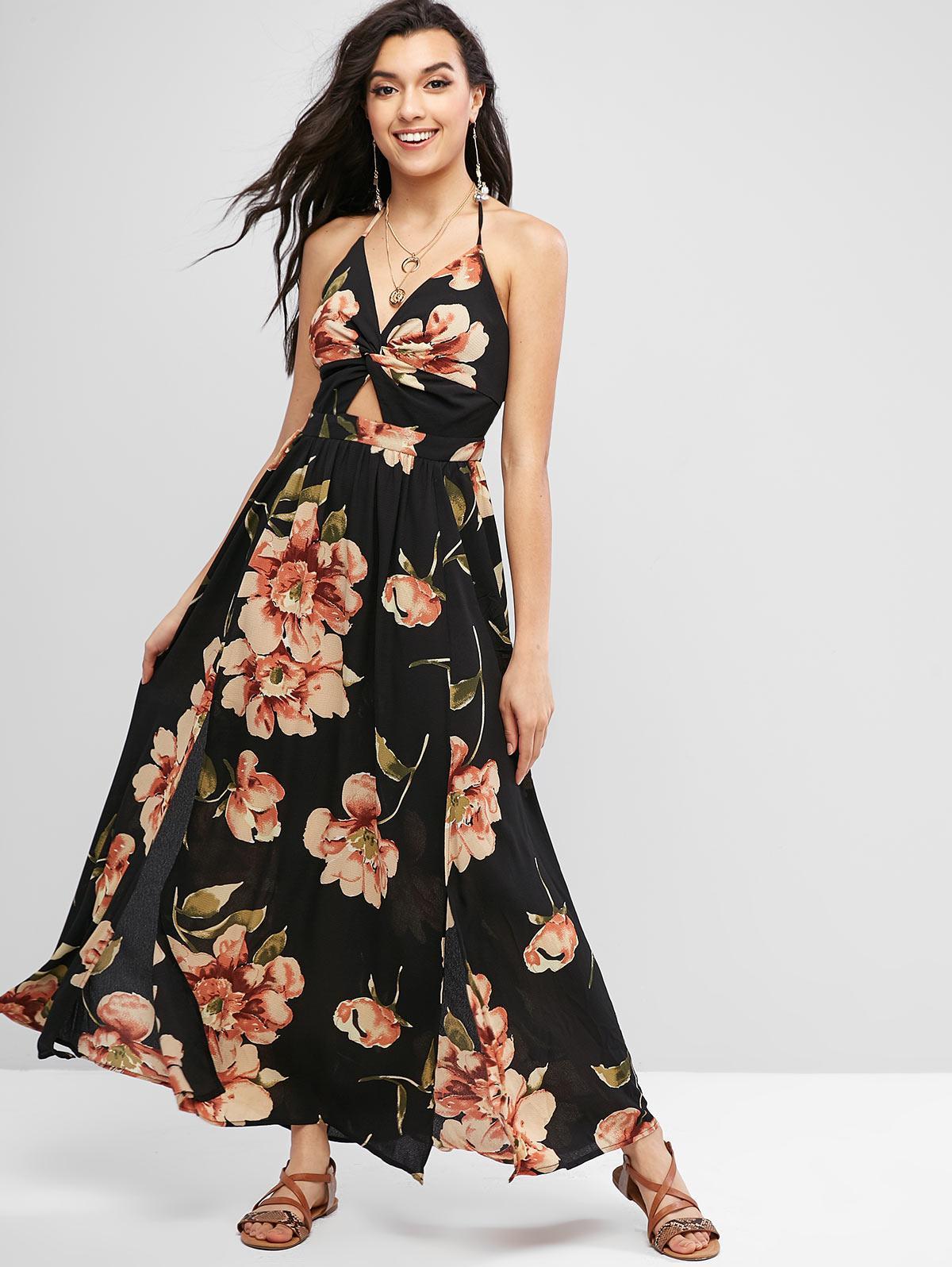 ZAFUL Floral Print Twist Slit Maxi Dress