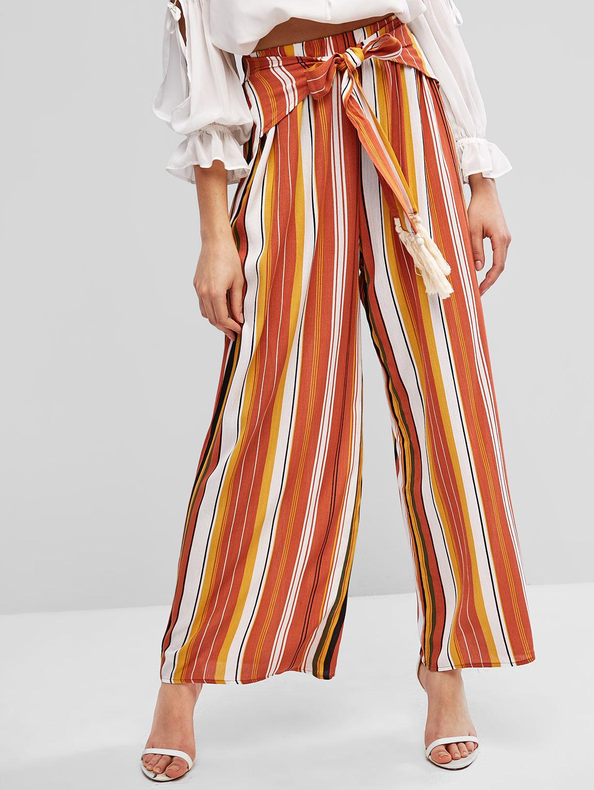 Tie Waist Stripes Tassels Wide Leg Pants