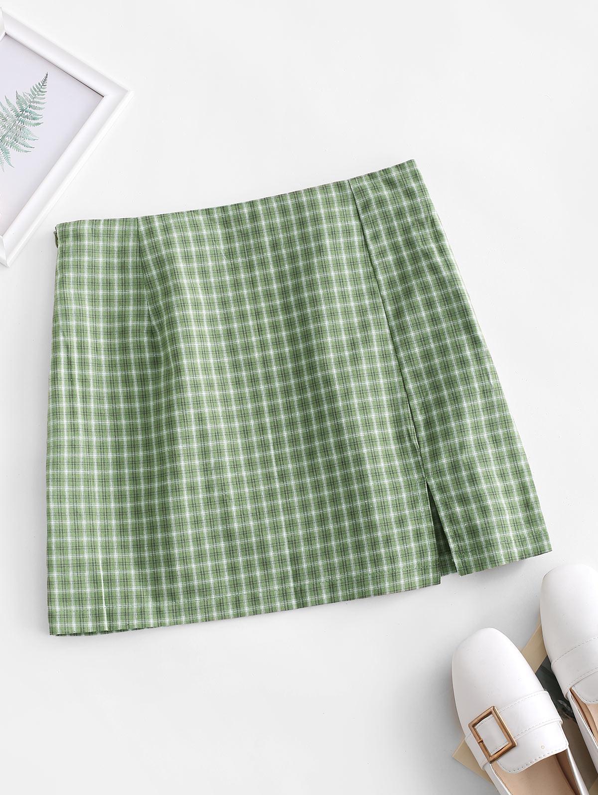 Side Zipper Plaid Front Slit Mini Skirt