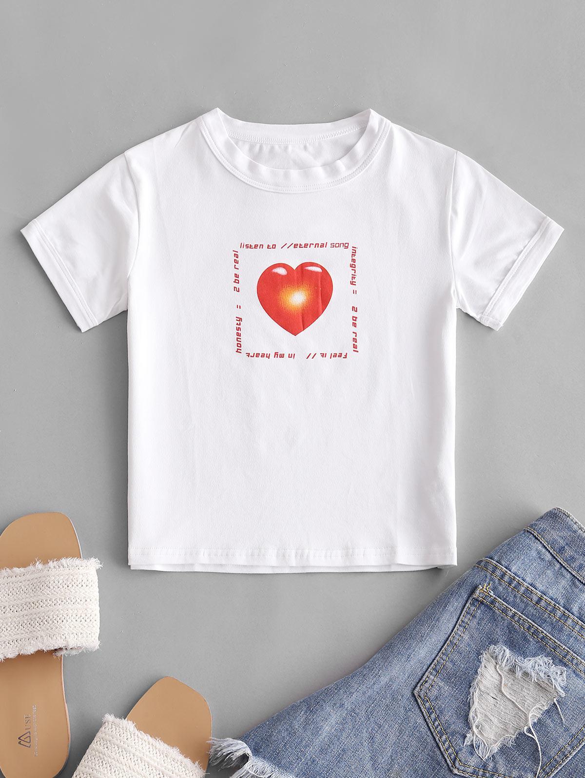 Heart Letter Graphic Crop T-shirt