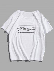 يد العون الجرافيك قصيرة الأكمام تي عارضة - أبيض L