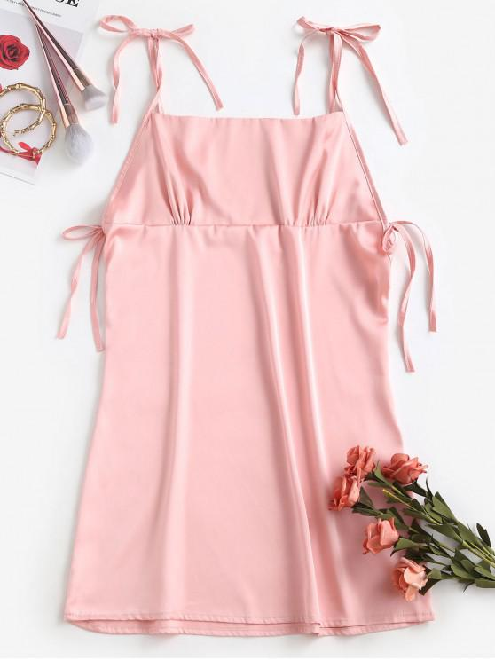 chic Satin Tie Shoulder Mini Dress - PINK M