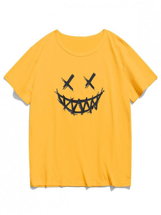 outfit Happy Face Graphic Casual Short Sleeve T Shirt - YELLOW L