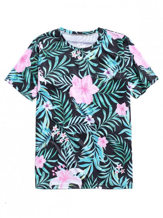 T-Shirt con Stampa Foglie e Fiori Tropicali - Verde Tartaruga 4XL