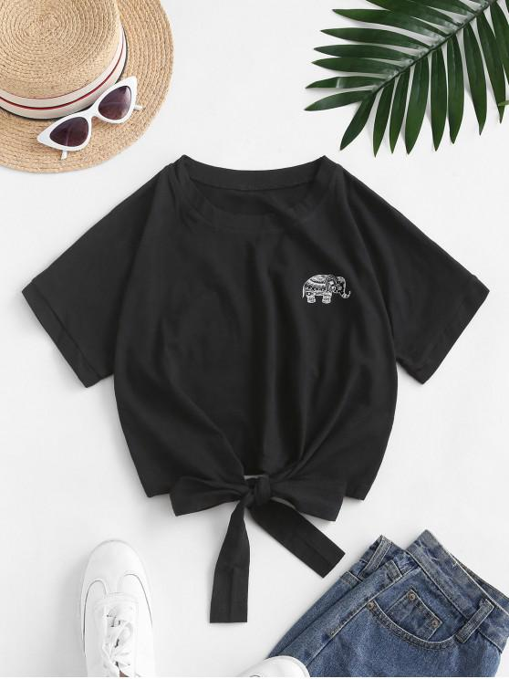 outfit Elephant Graphic Tie Hem Cropped Tee - BLACK L