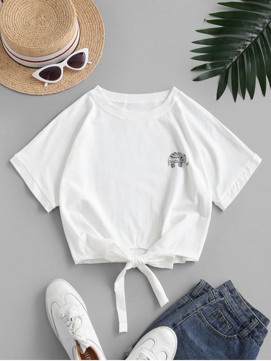 Camiseta Recortada con Lazo Gráfico Elefante - Blanco L