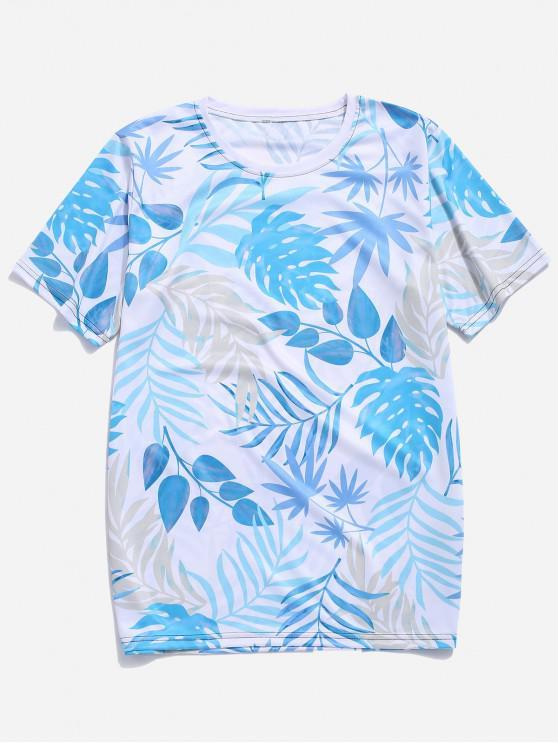 Tropical Leaf Print Hawaii vacanță T-shirt - Multi-A 4XL