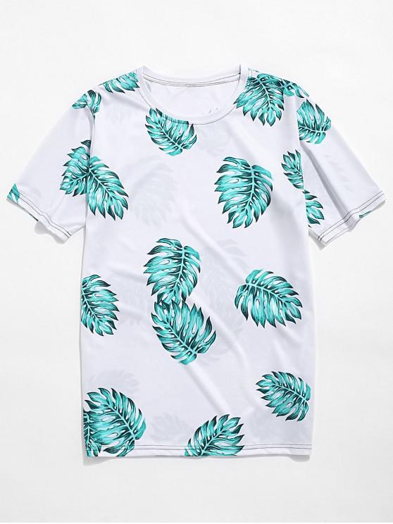 Tropical frunze imprimate vacanță T-shirt - Lumină de mare verde 4XL