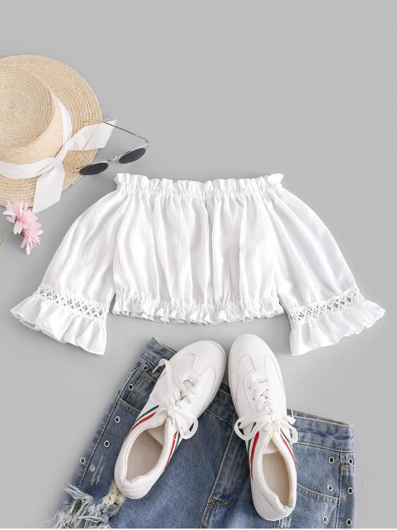 outfits Crochet Trim Off Shoulder Cropped Blouse - WHITE ONE SIZE