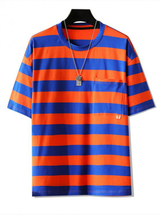 sale Striped Graphic Pocket Patch T-shirt - RED 3XL