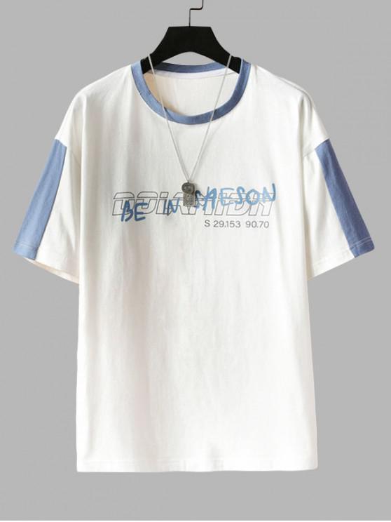 shop Letter Print Colorblock Panel T-shirt - WHITE 3XL