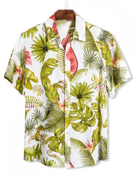 women Hawaii Banana Leaves Print Button Up Shirt - MULTI 3XL