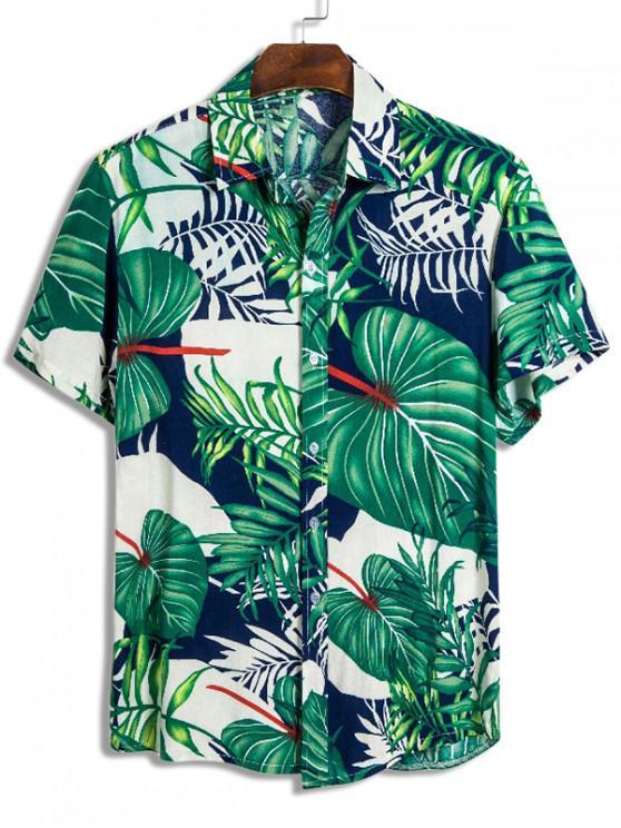 Camisa Hawaii con Botones de Impresión de Hojas Tropicales - Multicolor L