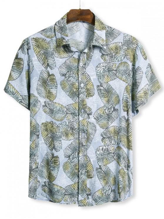 Camisa Manga Larga Estampado Hoja Tropical Abotonado - Multicolor 3XL