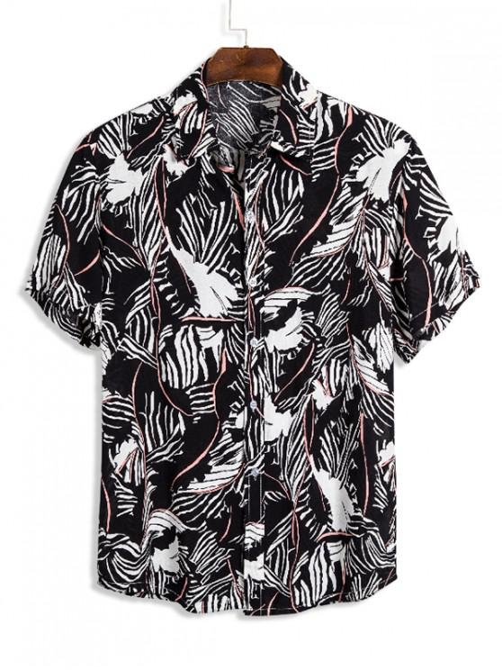 trendy Ethnic Abstract Striped Button Up Shirt - MULTI 3XL