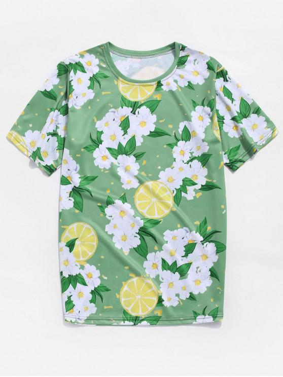 affordable Flower and Lemon Print Vacation T-shirt - GREEN ONION 4XL