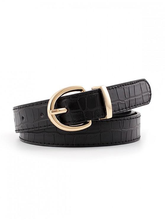 Cinturon Cuero PU Hebilla Estampado Animal - Negro