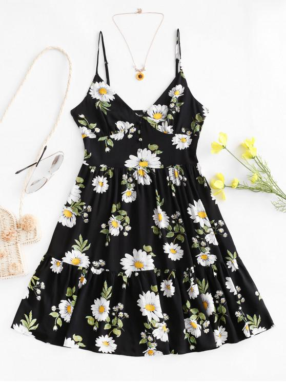 fashion ZAFUL Flower Smocked Mock Button Flippy Hem Dress - BLACK S
