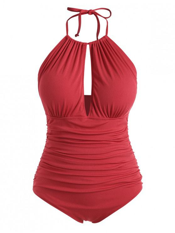trendy ZAFUL Plus Size Halter Ribbed Ruched One-piece Swimsuit - LAVA RED 3X