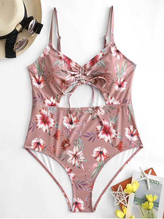 fashion ZAFUL Plus Size Flower Cinched Tie One-piece Swimsuit - LIPSTICK PINK 2X