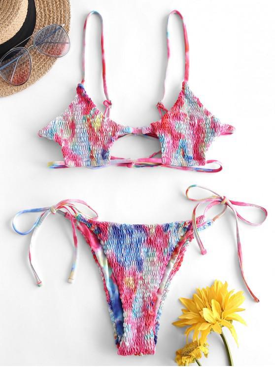 ZAFUL Tie Dye Cutout Smocked Bikini Swimwear - متعددة-A L