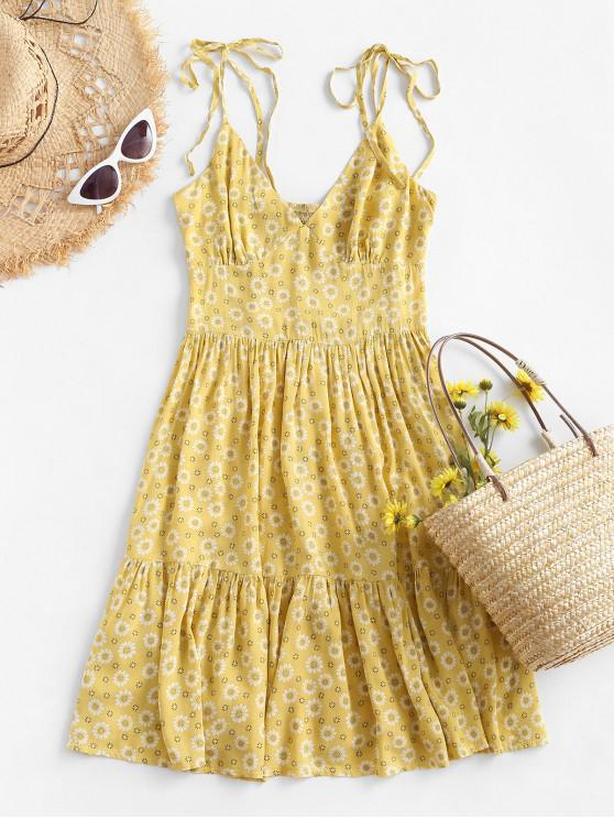 outfit ZAFUL Ditsy Floral Tie Smocked Cami Flounce Dress - YELLOW L
