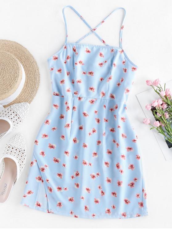 latest ZAFUL Ditsy Print Crisscross Mini Dress - SEA BLUE L