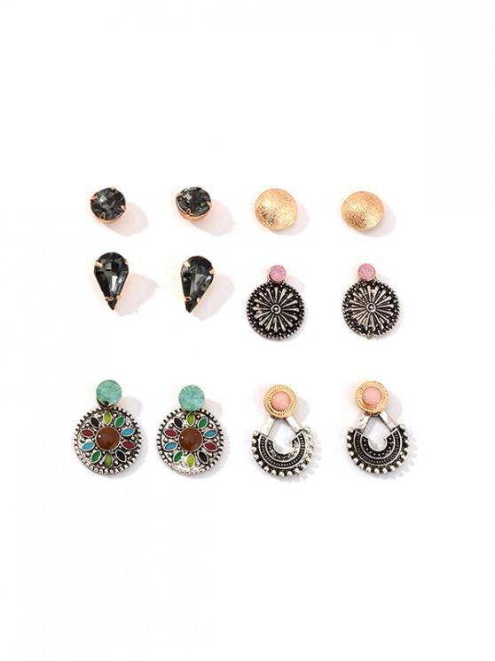 fashion Ethnic Geo Teardrop Stud Earrings Set - MULTI