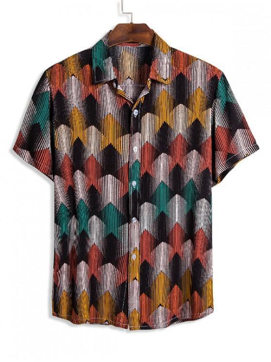 Camisa Manga Larga Estampado Geométrico Étnico - Multicolor M