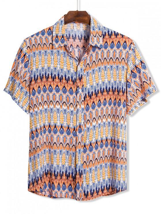 Ethnic Leaf Seamless Pattern Button Up Shirt - متعدد 3XL