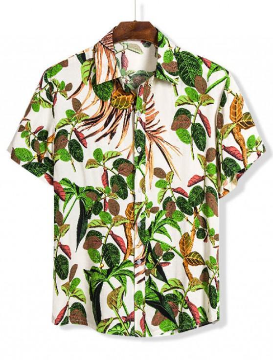 women's Leaves Print Lounge Button Up Shirt - MULTI 3XL