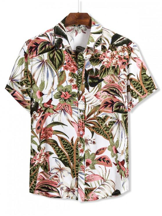 latest Floral Leaves Print Hawaii Button Up Shirt - MULTI 3XL