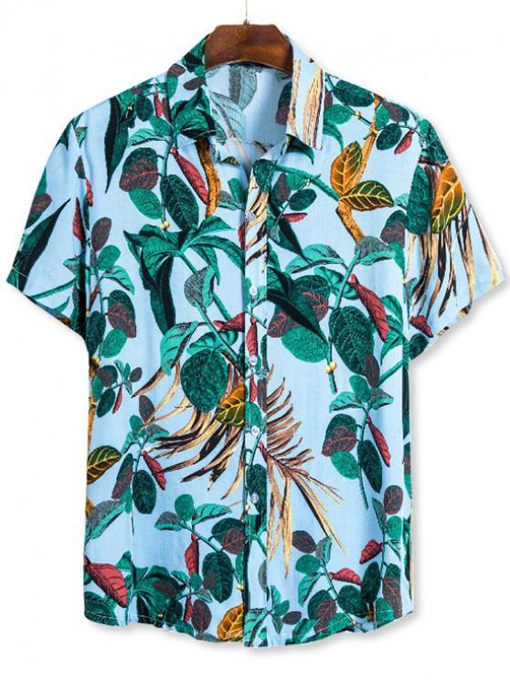 Camisa Casual Estampado Hojas - Multicolor 3XL