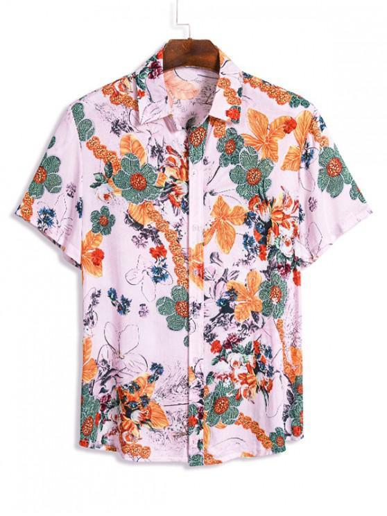 Camisa de Manga Corta con Estampado Floral Hawaii - Multicolor M