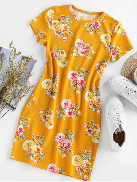 fashion ZAFUL Sports Floral Printed Dress - YELLOW M