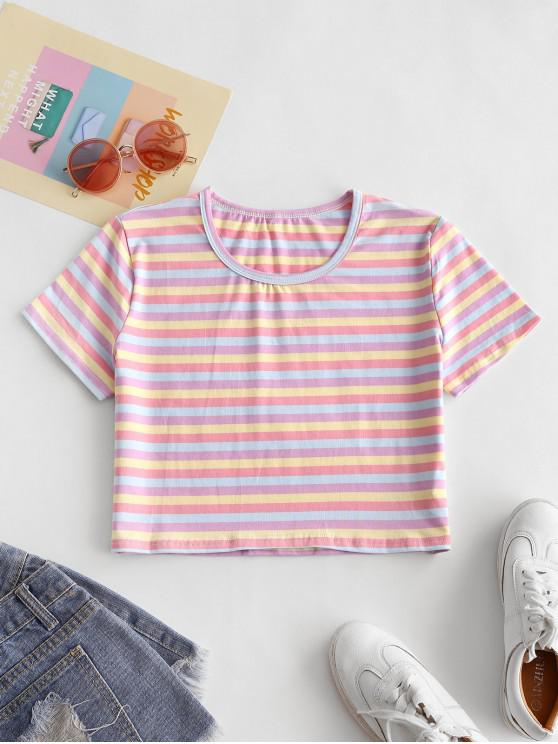 Decupată colorat Striped Tee - Multi-B S