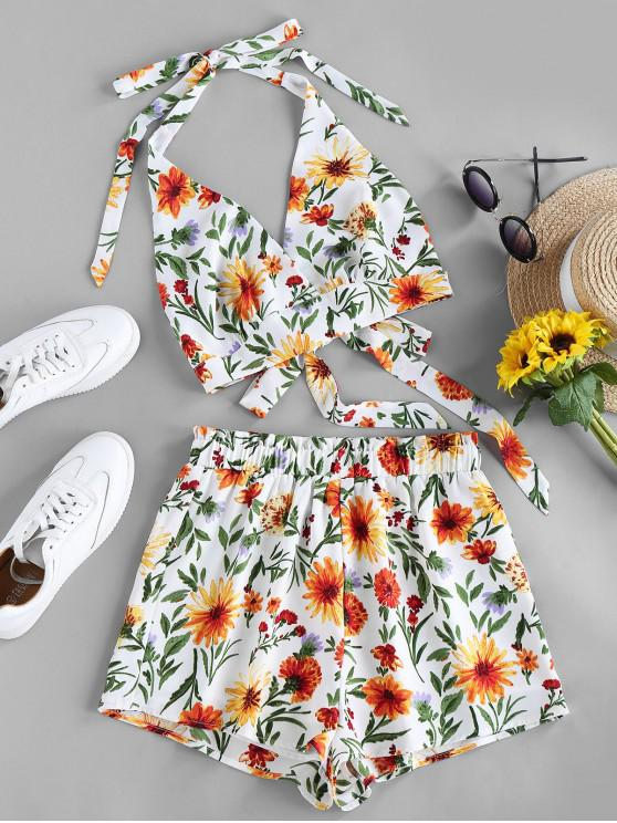 shops ZAFUL Halter Tie Back Floral Two Piece Set - WHITE S