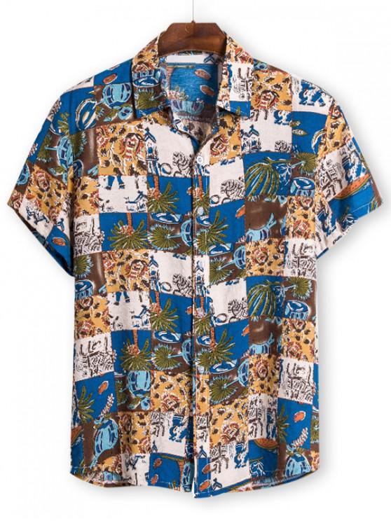 sale Ethnic Palm Tree Pattern Button Up Tee - BLUE 3XL