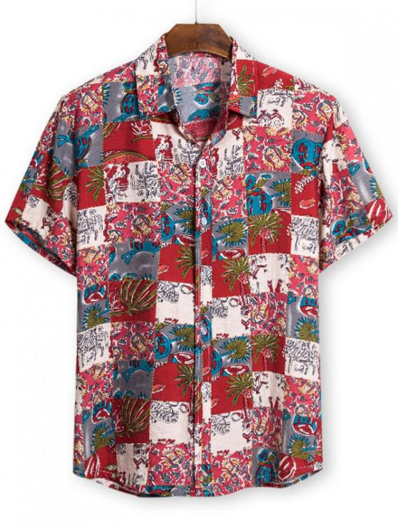 trendy Ethnic Palm Tree Pattern Button Up Tee - RED 3XL