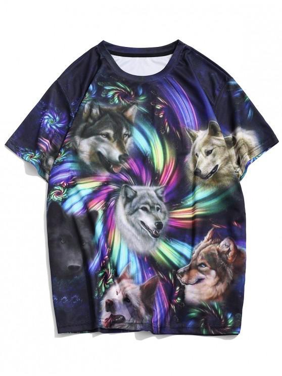 best Dog Print Casual Crew Neck T Shirt - MULTI 3XL