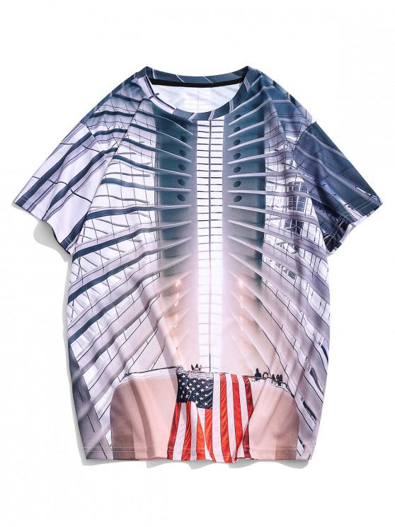 American Flag 3D Imprimare cu maneci scurte T Shirt Casual - Multi 3XL