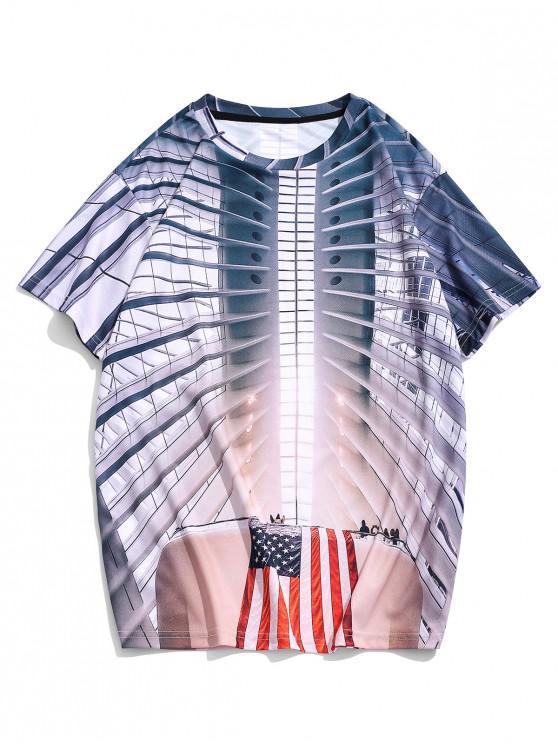 T-shirt Décontracté 3D Drapeau Américain Imprimé à Manches Courtes - Multi 2XL