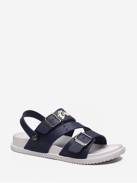 sale Letter Graphic Buckled Gladiator Open Toe Shoes - DEEP BLUE EU 40