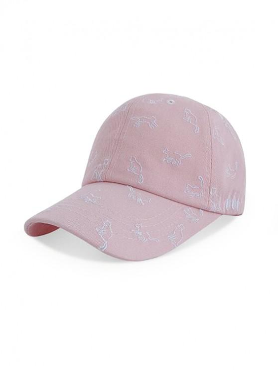 women's Cats Pattern Embroidery Baseball Cap - PINK