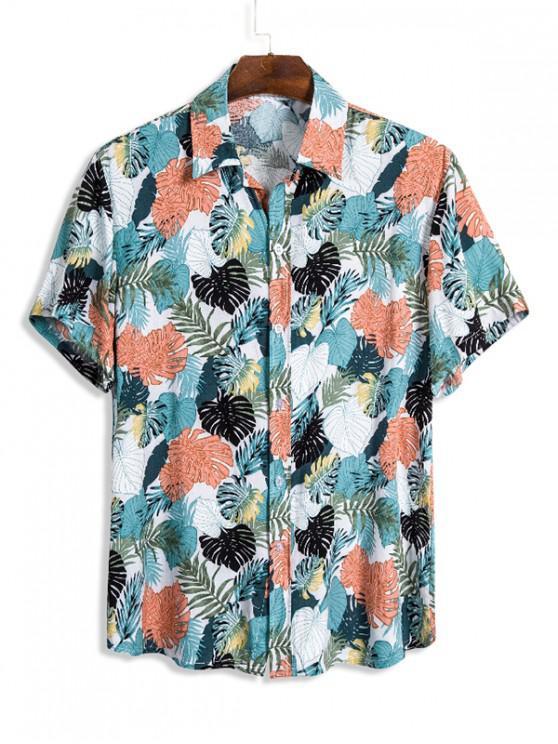 Camisa con Estampado de Hojas Tropicales con Botones de Playa - Multicolor L