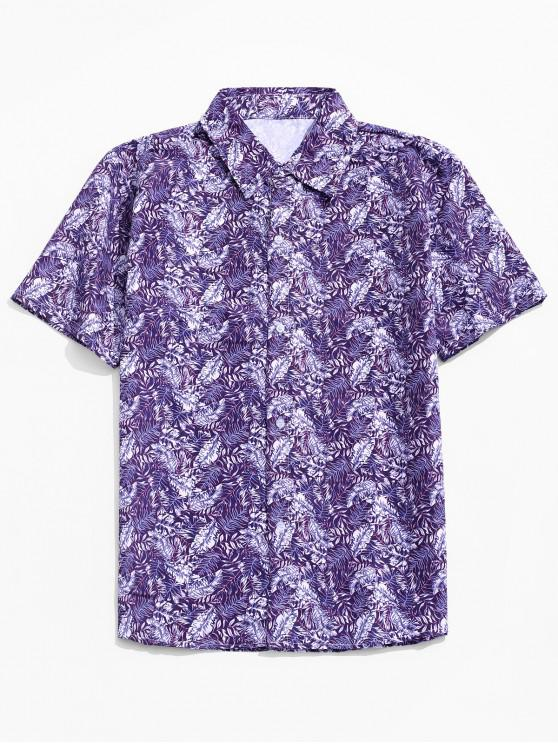 lady Leaf Print Casual Button Up Shirt - PURPLE 2XL