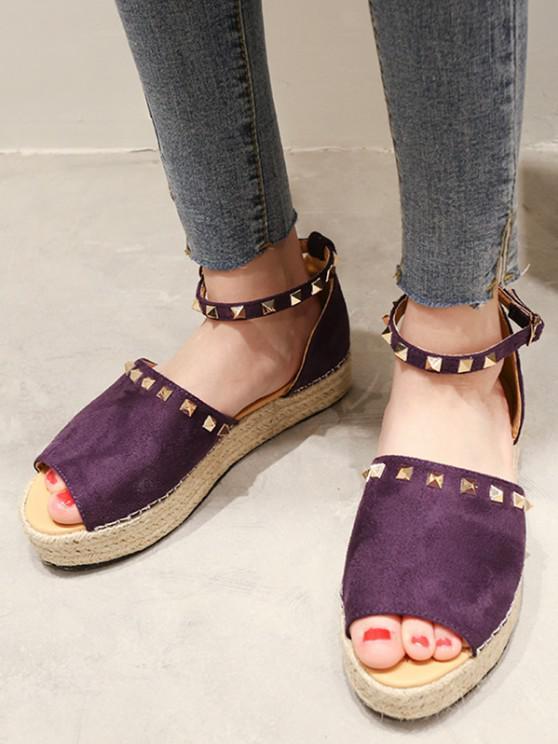 women Rivet Trim Open Toe Espadrille Platform Shoes - PURPLE IRIS EU 38