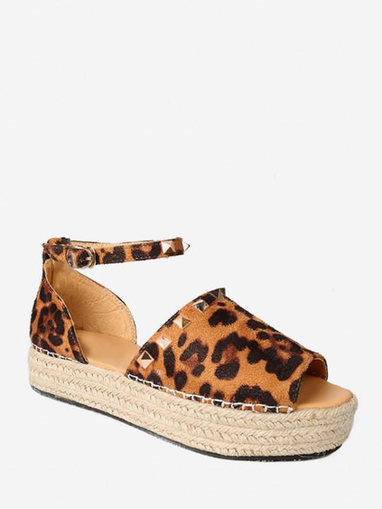 chic Rivet Trim Open Toe Espadrille Platform Shoes - LEOPARD EU 41